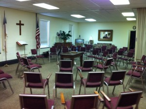 This was our summer worship space.
