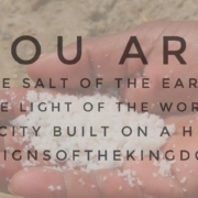 """hand with salt in the palm and overlying text """"You are the salt of the world a city built on a hill #signsofthekingdom"""""""