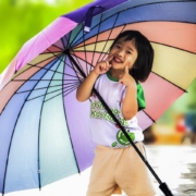 little girl with large multi-colored umbrella fully expanded, handle through one arm with fingers up at cheeks while smiling
