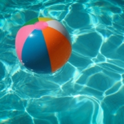 beach ball in a swimming pool